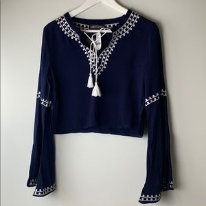 LF Mieeion bell sleeve embroidered blue crop top